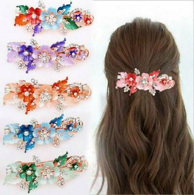 Flower Barrettes Cute Hairpin Crystal Hair Clip Headdress Headwear Accessories
