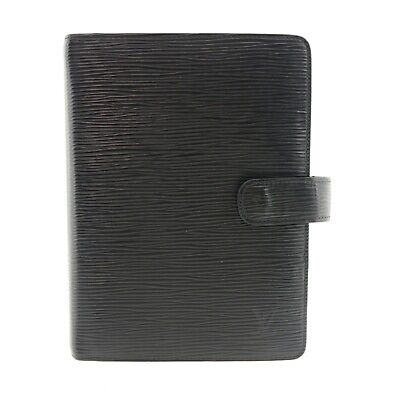 Auth LOUIS VUITTON Agenda MM Epi Day Planner Cover Black Leather R20202 #f32759
