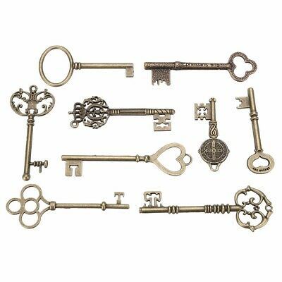 9PCS BIG Large Antique Vtg old Brass Skeleton Keys Lot Cabinet Barrel Lock TW