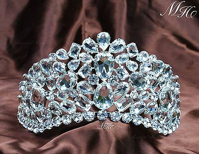 """3.5"""" Amazing Tiara DiademClear Crystal Wedding Crowns Beauty Pageant Party Prom"""