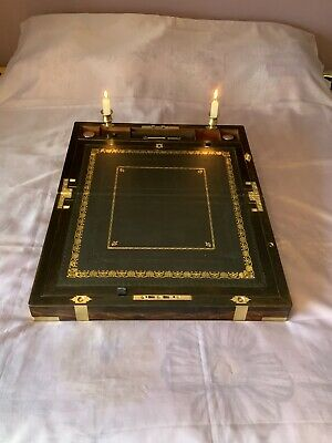 Ex Large Victorian Writing Slope/ Box Secret Drawers Underdrawer Candle Sconces
