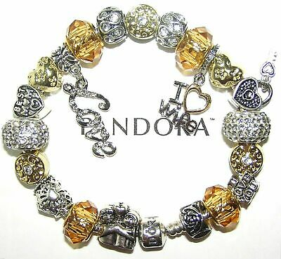 Authentic Pandora Silver Bracelet with WIFE, LOVE, GOLD & WHITE, European Charms