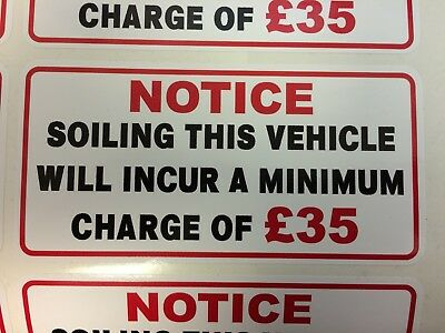 MINIMUM SOILING CHARGE £50 STICKER IDEAL FOR TAXI COACH BUS MINIBUS 60mm x 30mm