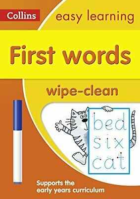 First Words Age 3-5 Wipe Clean Activ by Collins Easy Learning New Paperback Book