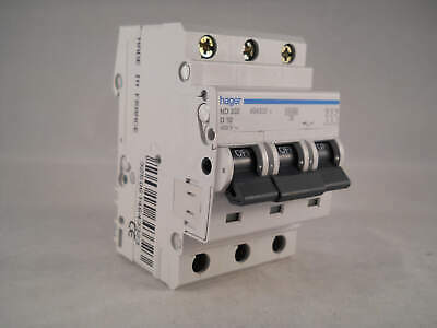 Hager MCB 32 Amp Triple Pole 3 Phase Circuit Breaker Type D 32A 463432 ND332