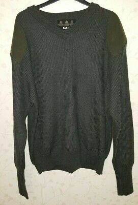 Mens Warm Barbour Sporting Sweater Loden Size Large 100% Wool VGC !!!