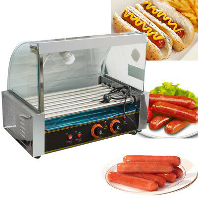Commercial 18 Hot Dog Hotdog 7Roller Grill Cooker Machine W/Cover Delicious&Safe
