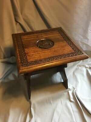 Antique Carved Stool, With Heraldic Crest and Moto, Lion and Crown