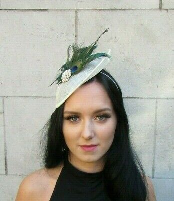 Cream & Green Peacock Pearl Feather Disc Saucer Hat Fascinator Hair Races 7691