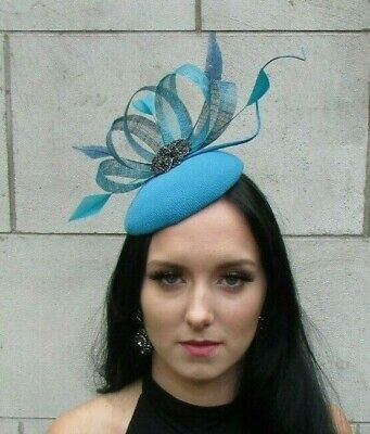 Teal Dark Turquoise Black Feather Pillbox Hat Fascinator Wedding Races Hair 7692