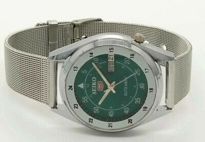 Seiko 5Automatic Mens Steel Vintage Japan Made Green Dial Watch Run Order L