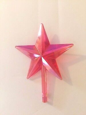 LARGE CLASSIC STAR Ceramic Christmas Tree TOPPER IRIDESCENT AURORA PINK VINTAGE