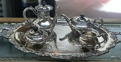 Wilcox Silver Co Essex Manor Tea Set Poole Silver Co Serving Tray Lancaster Rose