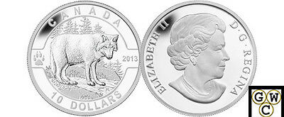 2013 'Wolf - O Canada' Proof $10 Silver Coin .9999 Fine (NT) (13123)