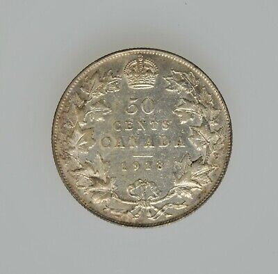 1918 Canada Fifty Cent Silver Coin Canadian Coin 50 Cent Silver Half Dollar