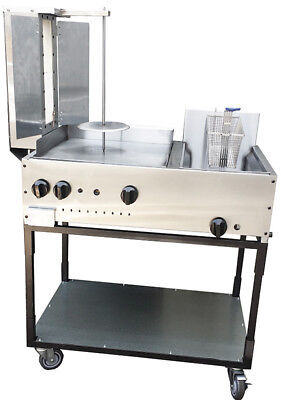 "New. Taco Cart. 36"" with Gyro (Pastor) Griddle & Fryer. Made in USA by Ekono"