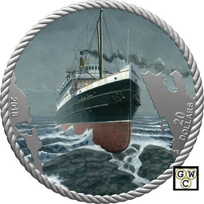 2018 'The Sinking of the SS Princess Sophia'Prf $20 Fine Silver 1oz.Coin(18611)