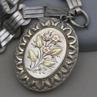Antique Victorian Sterling Silver Aesthetic Rose Gold Book Chain Locket Necklace