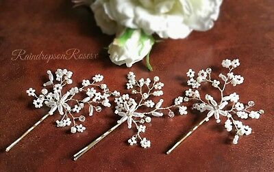 Wedding Bobby pins  Babys Breath Prom Boho diamanté Blonde hair holy communion