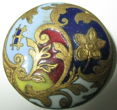 ANTIQUE FRENCH ENAMEL BUTTON - FLOWERS w ROCOCO GILT FLORAL DESIGN - 7/8""