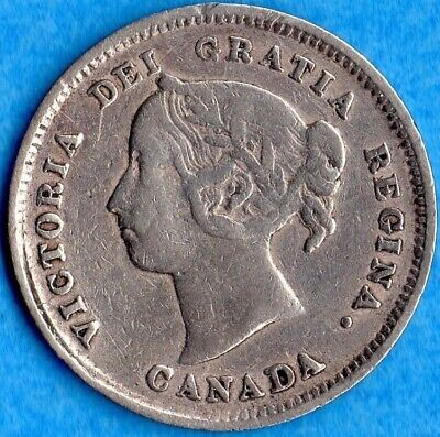 Canada 1884 Near 4 H 5 Cents Five Cent Small Silver Coin - Nice Fine
