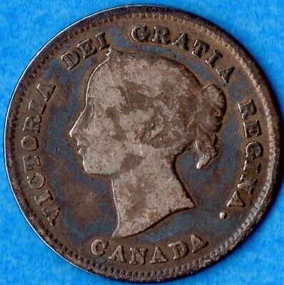 Canada 1891 5 Cents Five Cent Small Silver Coin - Very Good