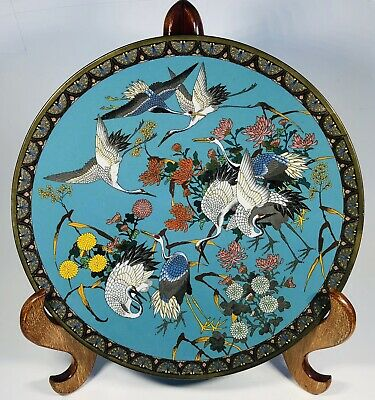"""Antique 1920s Chinese Cloisonne Enamel on Bronze Plate 12"""""""