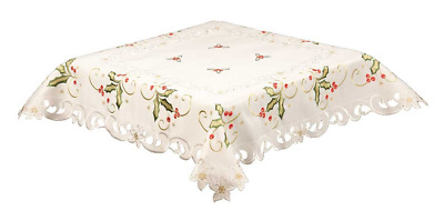 85CM 33 INCH SQUARE EMBROIDERED TABLECLOTH LAVENDER FLORAL ON IVORY 59940
