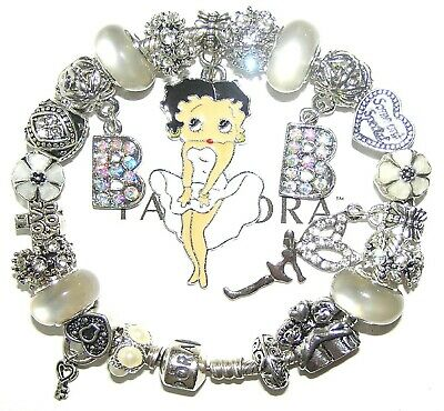 Authentic Pandora Silver Bracelet with BETTY BOOP, LOVE, WHITE  European Charms