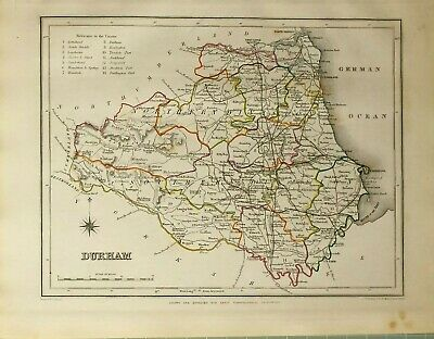 1845 Antique County Map Durham Darlington Hartlepool Wolsingham Barnard Castle