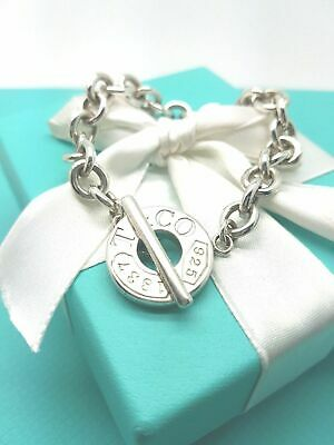 Tiffany & Co 1837 Sterling Silver Circle Toggle Charm Bracelet 7.5 Inch