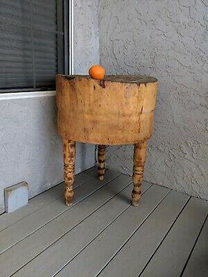 """Antique Butcher block end table decor heavy solid wood pickup only 31"""" H 23"""" Dia"""