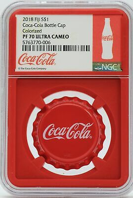 2018 Coca-Cola Bottle Cap Coin 6g Silver NGC PF70 $1 Fiji Coke Coin - JD350