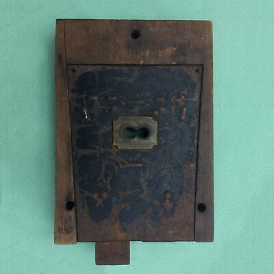 Late-1700S Hand Forged, Cast Iron Antique Door Or Barn Lock, Americana, 2 Pieces