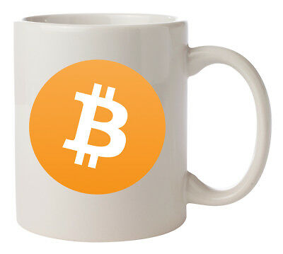 WHITE CERAMIC MUG with Bitcoin or Crypto logo of choice.