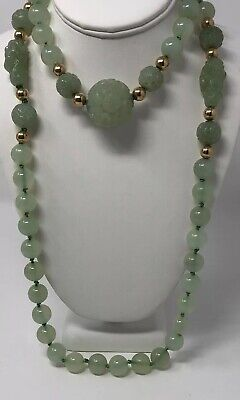 RARE Fine Antique Chinese Carved JADE Celadon Nephrite Beaded Necklace 14k Beads