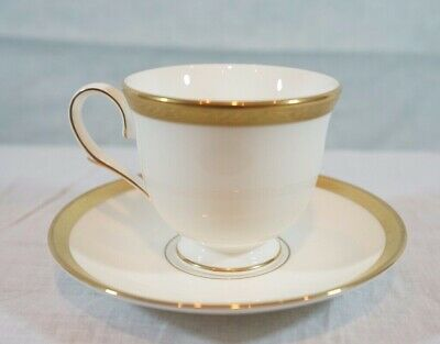 LENOX LANDMARK GOLD Footed Tea Cup & Saucer Set Classic Collection Bone China