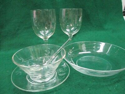 "Princess House HERITAGE Water Goblets, 8"" Bowl, Condiment Bowl & Clam Swizzle St"