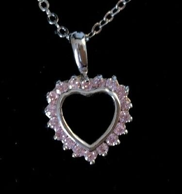 """Sweet Heart Valentine Love Pendant Pink Crystals 17"""" Silver-Tone Necklace Chain"""