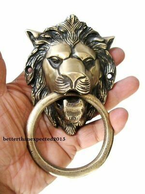 Vintage Antique Style Hand Made Solid Brass Lion Door Knocker Handle Ldh110