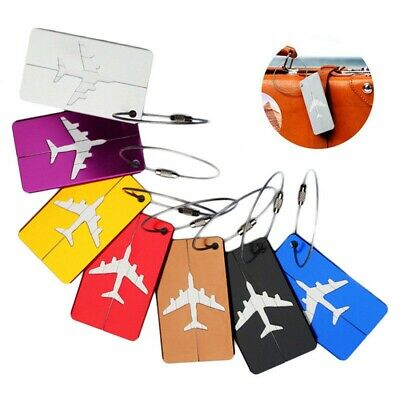 7PCS Aluminium Luggage Tag Suitcase Baggage Travel Name Address ID Tag Label TW