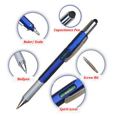 5 In 1 Touch Stylus Ballpoint Pen With Spirit Level Ruler Screwdriver Tool 1PC