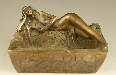 rare old bronze hand casting belle statue ashtray noble table decoration gift