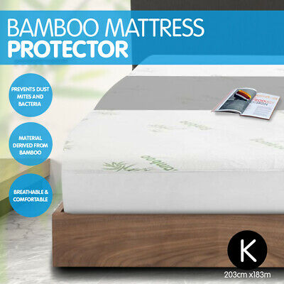New Luxury Bamboo Comfortable Fully Fitted Bed Mattress Protector - King