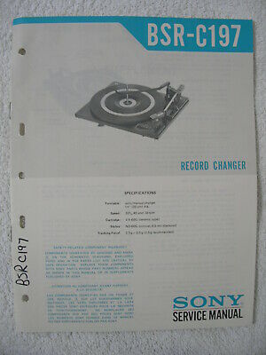 SONY BSR-C197 Record Changer - SERVICE MANUAL