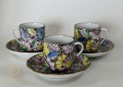 Chinese Mid Century  Handpainted Flowers Painted Coffee Cans & Saucers