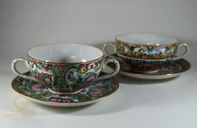 Two Chinee Mid Century Chinese Canton Famille Rose Twin Handle Cups & Saucer