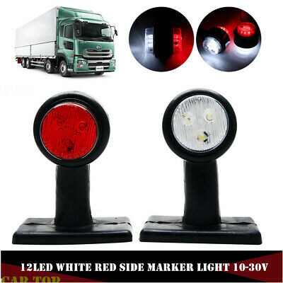 2 x Red White LED Side Marker Lights Outline Lamp Car Truck Trailer Van 10-30V