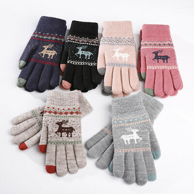 Vintage Christmas Deer Knitted Screen Gloves Women Cotton Warm Gloves Winter UK