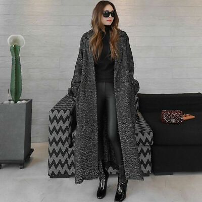 Womens Maxi Thick Loose Warm Lapel Long Trench Wool Blend Coat Overcoat Jacket